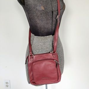 Red Leather Relic Crossbody Messenger Bag
